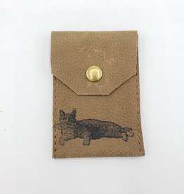 In Blue Handmade Cat - Leather Snap Card Wallet