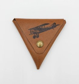 Airplane - Triangle Leather Coin Pouch