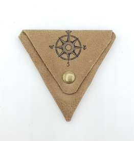In Blue Handmade Compass - Triangle Leather Coin Pouch in Taupe