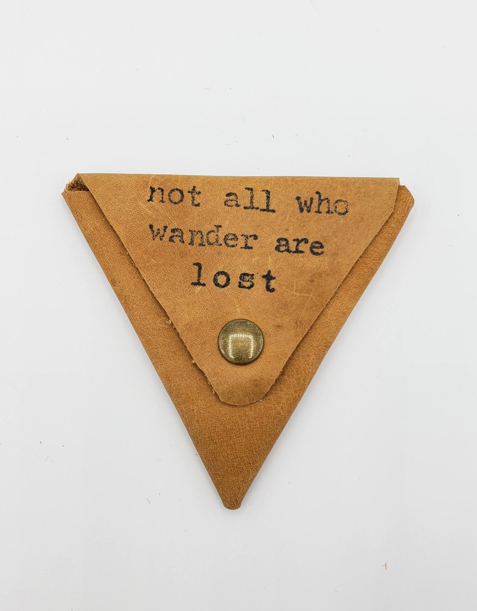 """In Blue Handmade """"Not All Who Wander"""" - Triangle Leather Coin Pouch"""