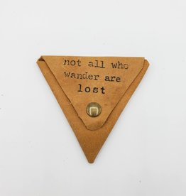 "In Blue Handmade ""Not All Who Wander"" - Triangle Leather Coin Pouch"