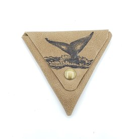 Whale Tail - Triangle Leather Coin Pouch, Tan