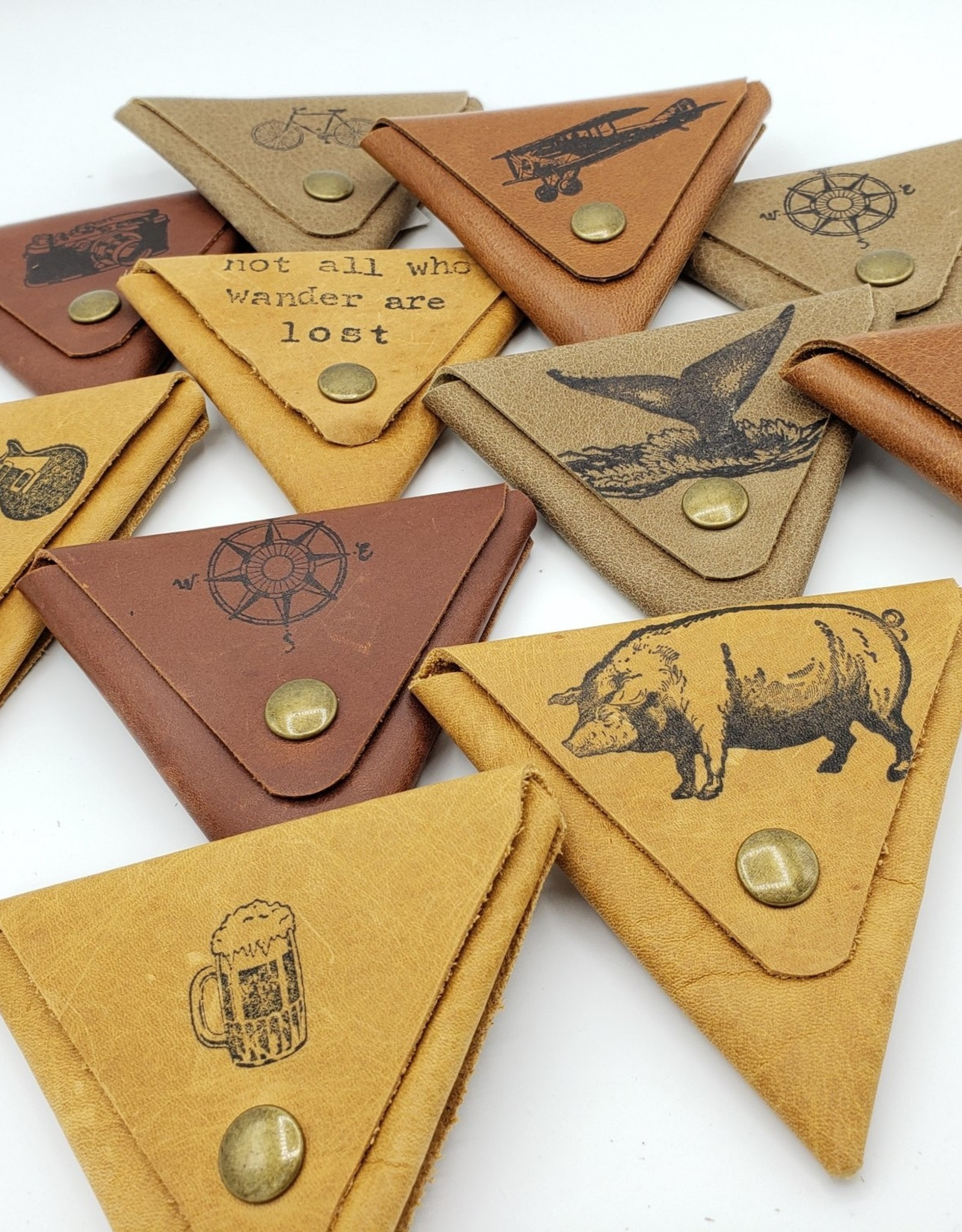 In Blue Handmade Whale Tail - Triangle Leather Coin Pouch, Tan