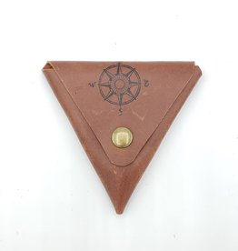 In Blue Handmade Compass - Triangle Leather Coin Pouch, Mahogany