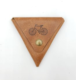 In Blue Handmade Bicycle - Triangle Leather Coin Pouch in Tan