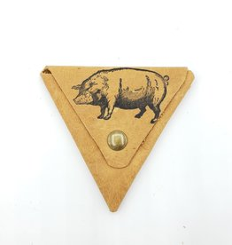 In Blue Handmade Pig - Triangle Leather Coin Pouch