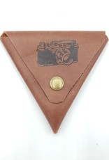 In Blue Handmade Camera - Triangle Leather Coin Pouch