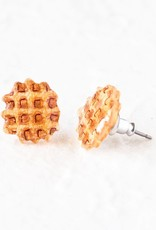 """Waffles"" Resinated Shrink Plastic Earrings - Poptone"
