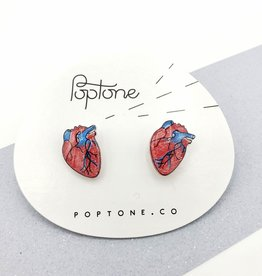 """Anatomical Hearts"" Resinated Shrink Plastic Earrings - Poptone"