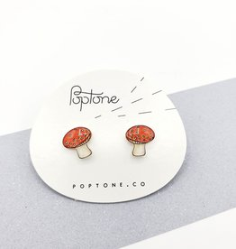 """Mushrooms"" Resinated Shrink Plastic Earrings - Poptone"