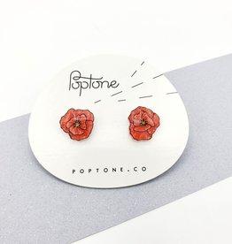 """Poppies"" Resinated Shrink Plastic Earrings - Poptone"