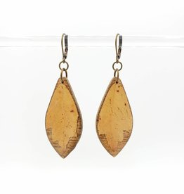 by Kali Resinated Leaf on Wood Earrings - by Kali