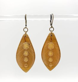 by Kali Droplets, Resinated Leaf on Wood Earrings - by Kali