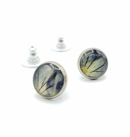 by Kali Blue flower in Resin Post Earrings, Antiqued Silver