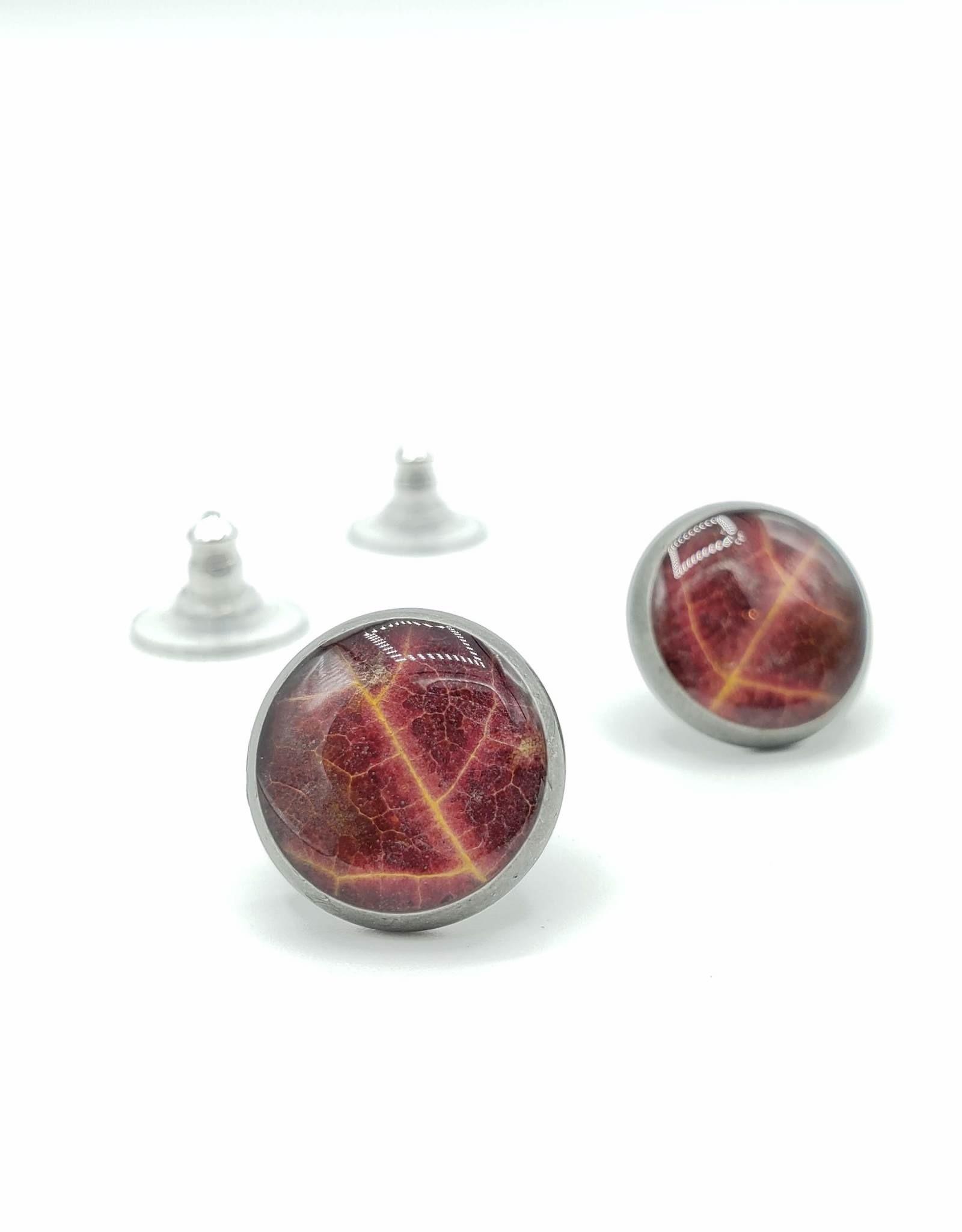 by Kali Red Leaf in Resin Post Earrings, Antiqued Silver - by Kali