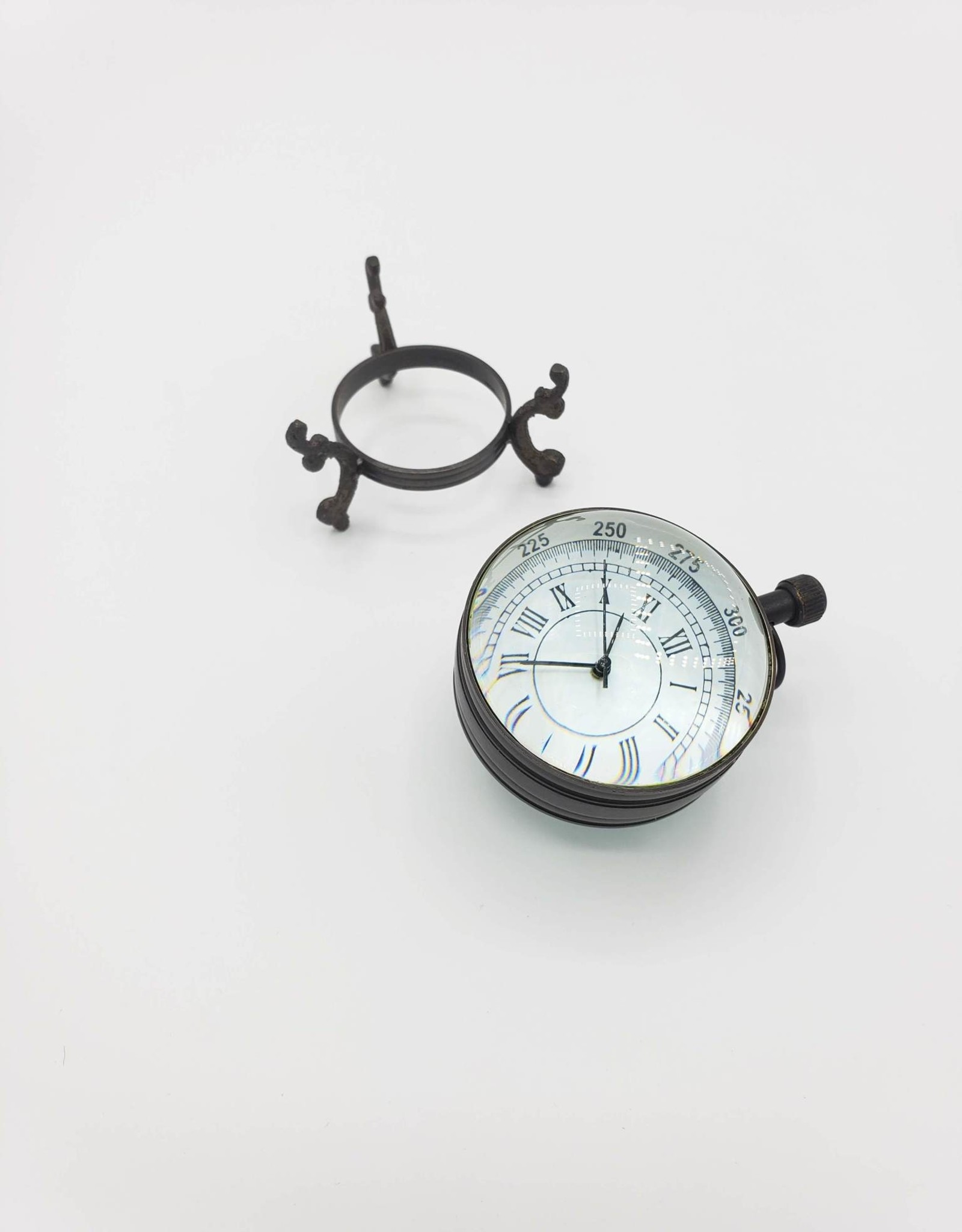 Abbey Roman Numeral Antique Glass Ball Clock on Brass Stand