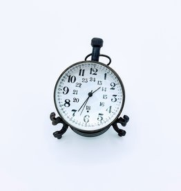Abbey, Bold Font Antique Glass Ball Clock on Brass Stand
