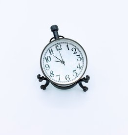 Abbey, Old Standard Font Antique Glass Ball Clock on Brass Stand