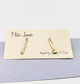 Peter James Jewelry Bar Stud Earrings in Gold Fill