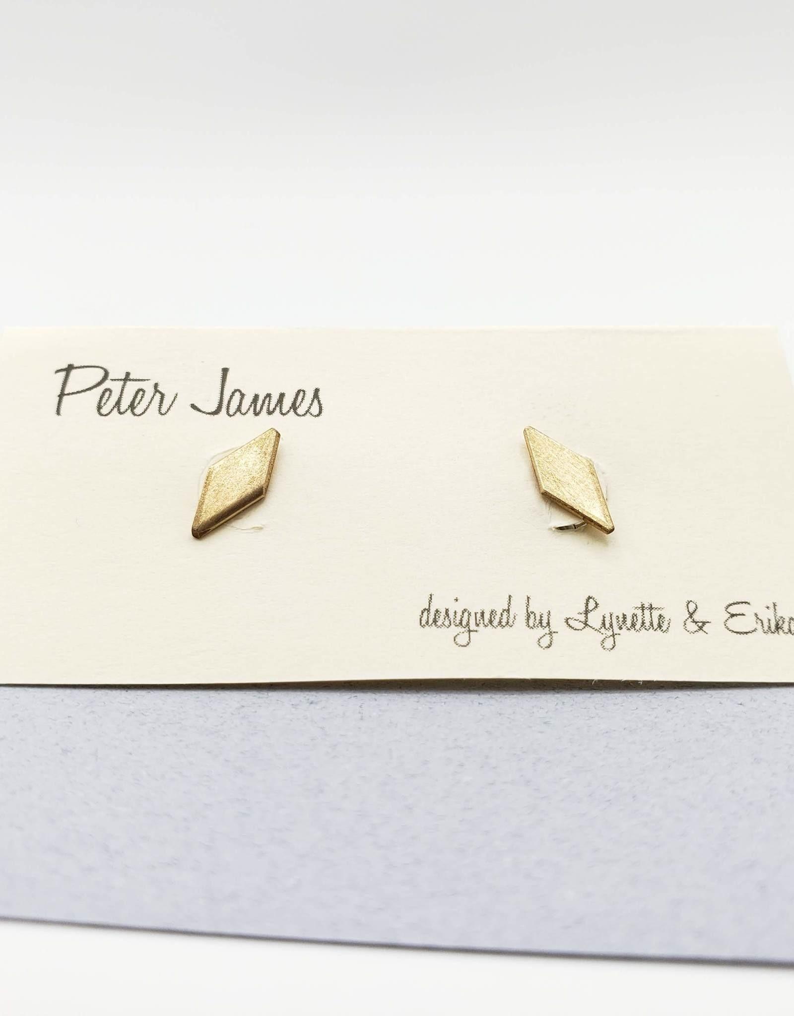 Peter James Jewelry Diamond Shaped Stud Earrings - Brass