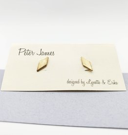 Peter James Jewelry Diamond Shaped Stud Earrings - Brass