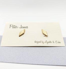 Peter James Jewelry Diamond Shaped Stud Earrings - Gold Fill