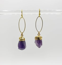 Mishakaudi Raw Amethyst and Gold Plated Oval Earrings