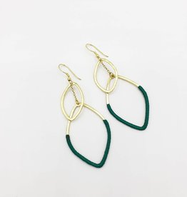 Mata Traders Thread-Wrapped Leaf Shapes Earrings