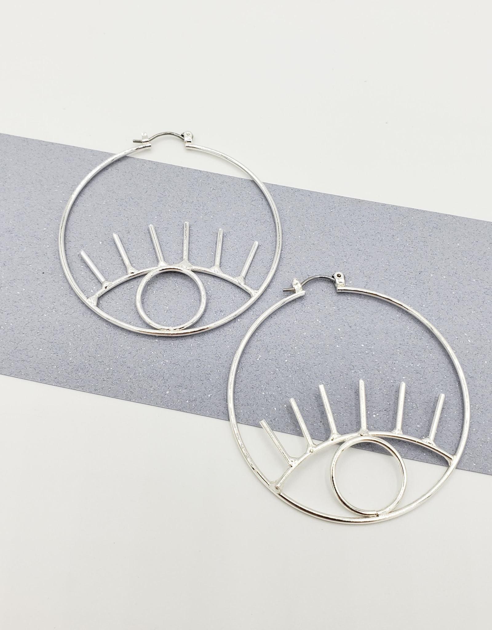 Eye on the Prize Earrings - Silver Plate Open Eye Hoops