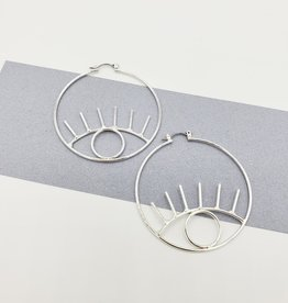 Eye on the Prize Earrings - Silver Plate Open Eye Hoops