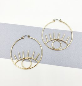 Eye on the Prize Earrings - Gold Plate Open Eye Hoops