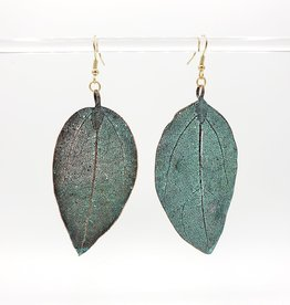 Natural Vintage Patina Leaf Earrings