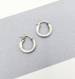 Tiger Mountain Small Hinged Flat Hoop Earrings in Sterling Silver