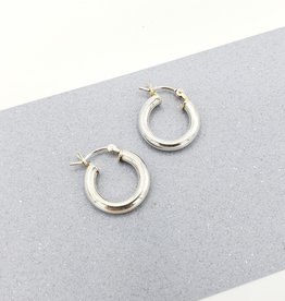 Peter James Jewelry Thick Hollow Hinged Hoop Earrings in Sterling Silver