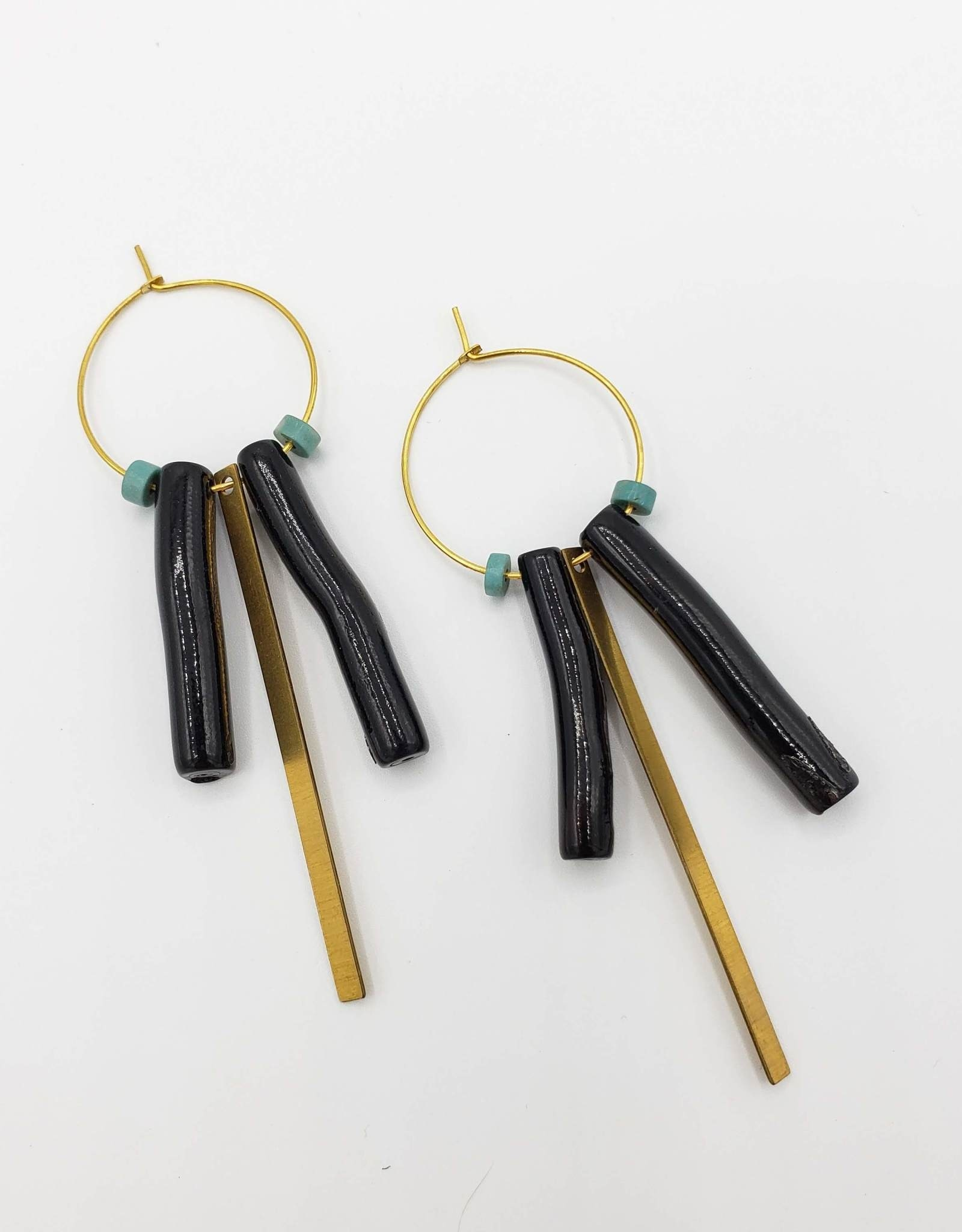 """Redux Black """"Coral"""" Turquoise & Brass on Gold Plated Hoops"""