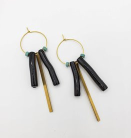 """Black """"Coral"""" Turquoise & Brass on Gold Plated Hoops"""