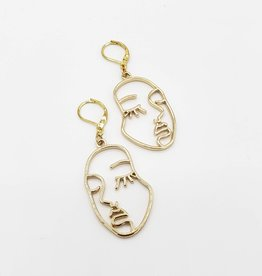 Modern Art Face Post Earrings on Gold Plated Leverback Ear Wires