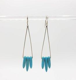 Peter James Jewelry Long Blue Howlite Triple Spear Earrings