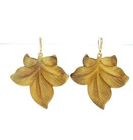 Vintage Veined Brass Leaf Earrings