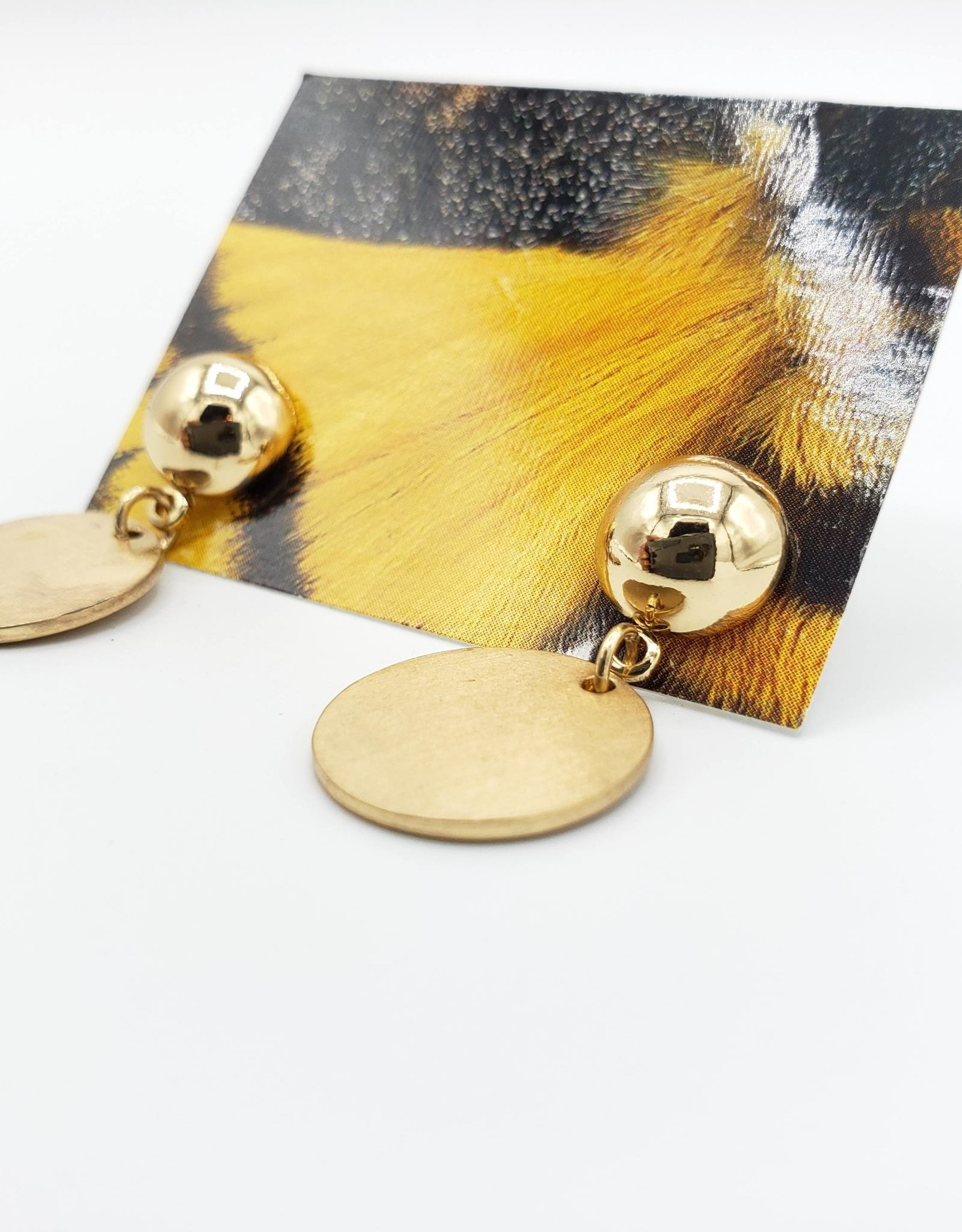 Redux Button Post Earrings with a Brushed Circle