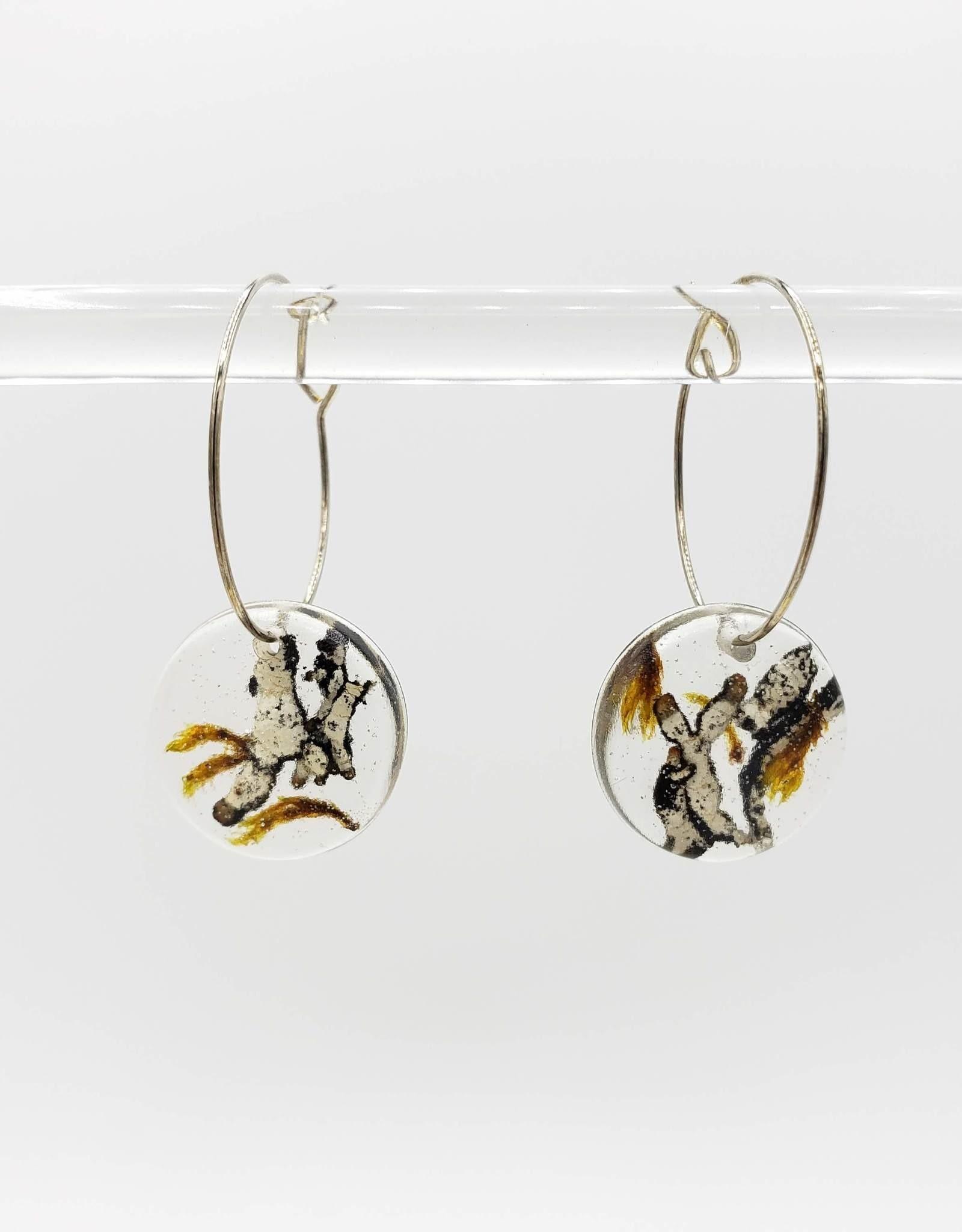 Lichen in Resin Round Hoop Earrings