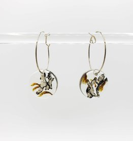 Lichen in Resin Round Hoop Earrings