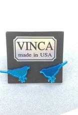 Vinca Blue Bird Laser Cut Mirrored Acrylic Stud Earrings by Vinca
