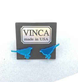 Vinca Blue Bird Laser Cut Mirrored Acrylic Stud Earrings by Vinca