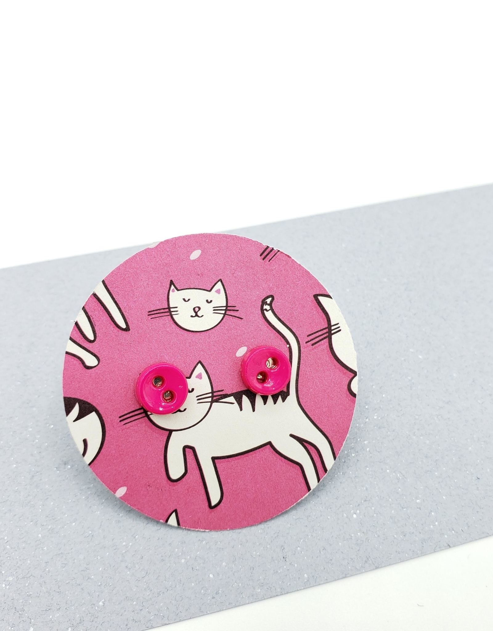 Kirsten Elise Jewelry Tiny Hot Pink Button Stud Earrings by Kirsten Elise