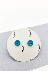 Kirsten Elise Jewelry Tiny Teal Button Stud Earrings by Kirsten Elise