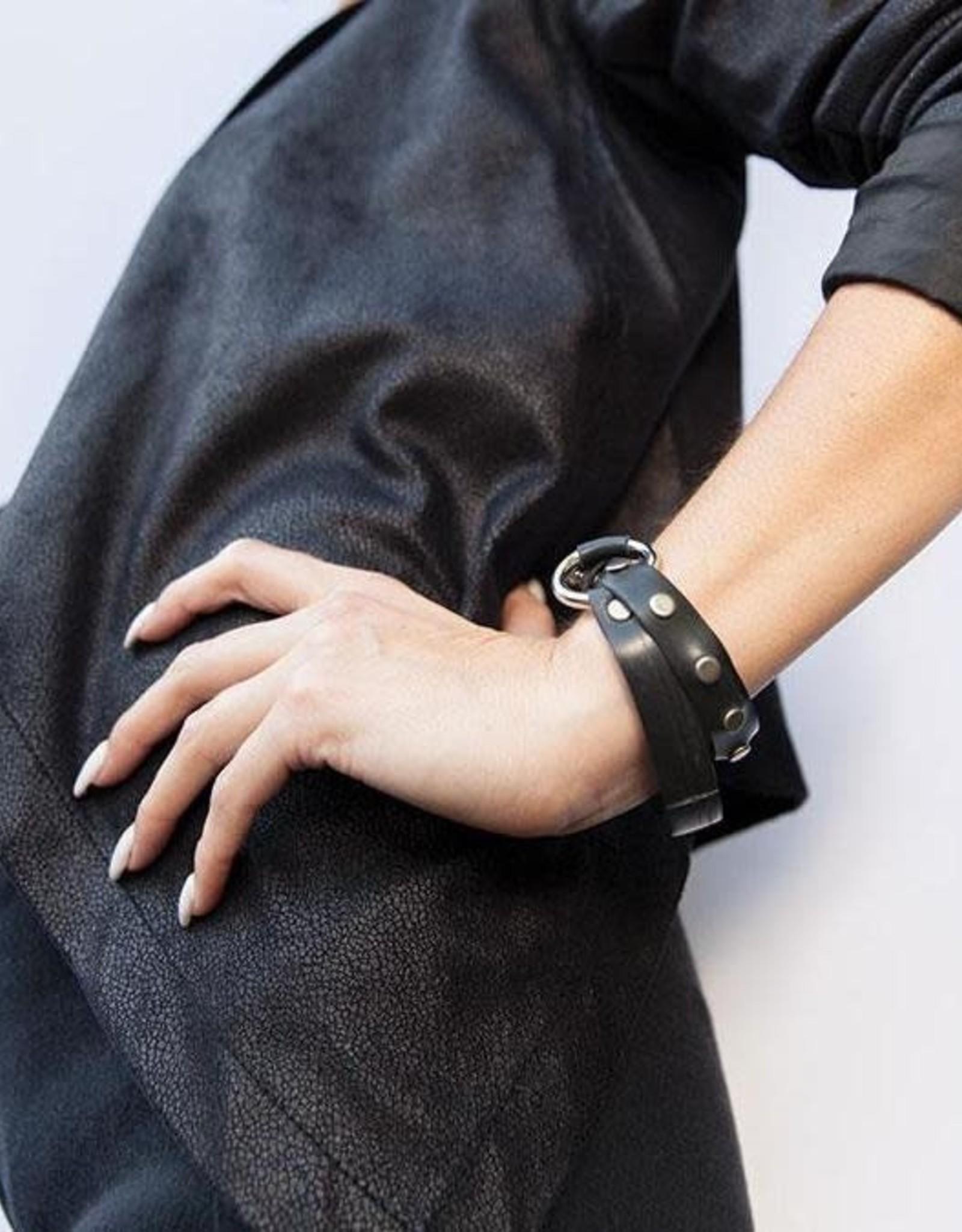 Beatrice Holiday O-Ring Wrap Studded Bracelet, Bike Tire