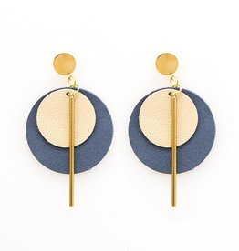 Ink + Alloy Leather Circle Earrings - Ivory & Indigo, 2.75