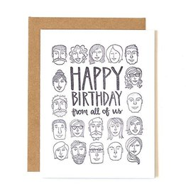 """""""Happy Birthday from all of Us"""" Greeting Card Letterpress - One Canoe Two"""