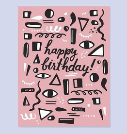 Pink Shapes Birthday Greeting Card - The Good Twin